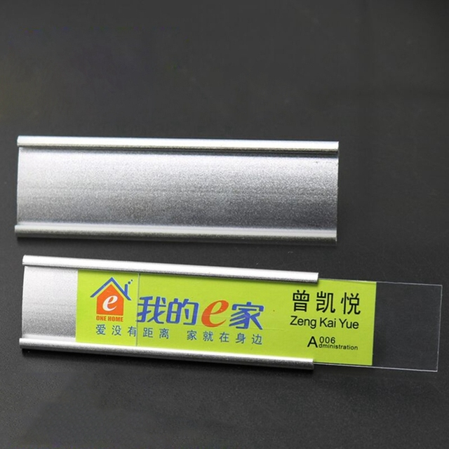 US $4 45 |2pcs 70*22mm blank aluminum name tags with pin or magnet hotel  staff silver gold reusable id badge holder-in Badge Holder & Accessories  from