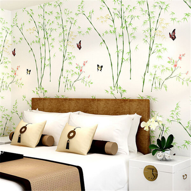 ФОТО beibehang- New Romantic Pastoral Fresh Style Bamboo Design Butterfly Mural Wallpaper Non-woven 3D Wall Paper Bedroom Papier