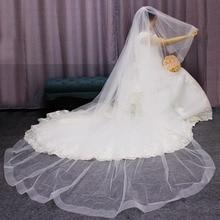 Longo horsehair borda 2 t véu de noiva 3 metros catedral branco marfim véu de casamento com pente noiva acessórios