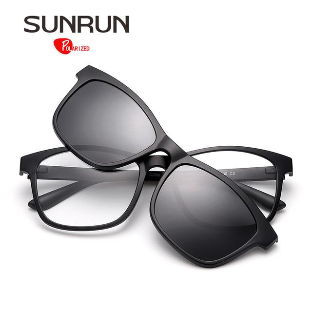 SUNRUN TR90 Polarizada Óculos De Sol Dos Homens Óculos de Lente Removível TR2201 Quadro Óculos Mulheres Óptica óculos de Design Da Marca Do Vintage