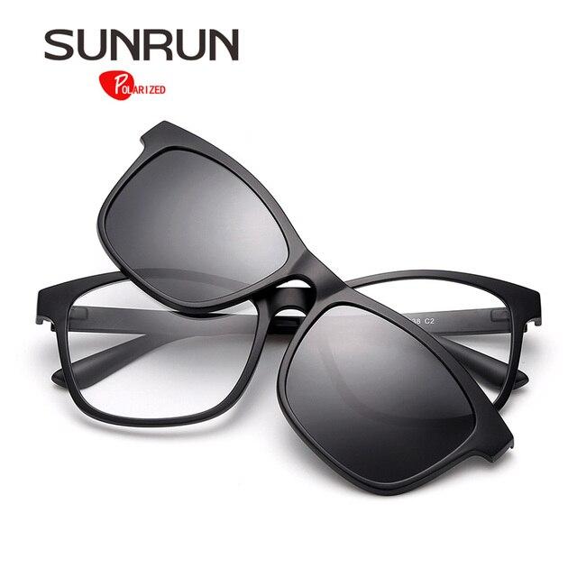786a3b5e2 SUNRUN TR90 Polarizada Óculos De Sol Dos Homens Óculos de Lente Removível  TR2201 Quadro Óculos Mulheres