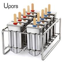 UPORS Molde para paletas de acero inoxidable, molde para paletas de hielo, fabricante casero de paletas de helado con soporte para paletas