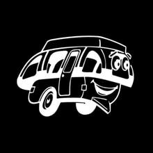 17.2CM*12CM 3D Cartoon Fun Happy Camper Vinyl Car Window Sticker Decal Black/White Graphical Stickers