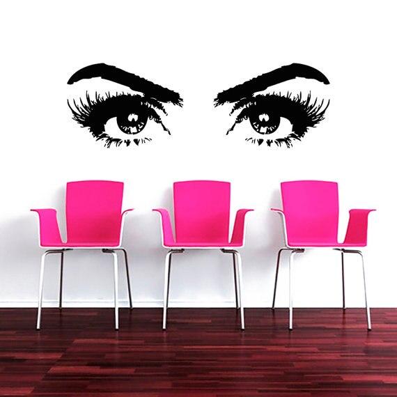 Makeup salon girls beautiful eyes face vinyl wall sticker cosmetic harddressing wall mural - Stickers salon design ...
