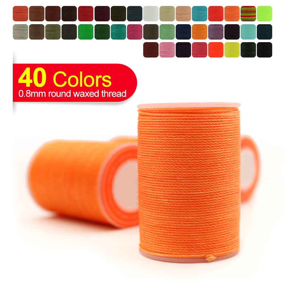 High Quality Hand Sewing Round Waxed Thread, 0.8mm Strong Polyester Thread For Leather Clothing Wallet Sofa DIY Craft New Colour