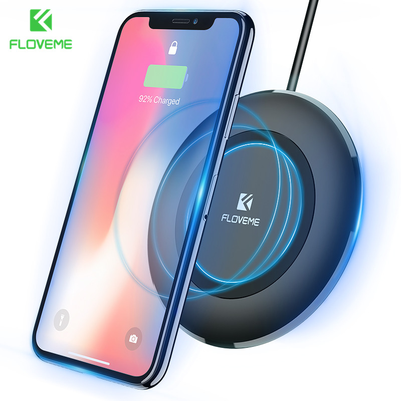 FLOVEME Qi Wireless Charger For Samsung S8 Galaxy S9 Plus Note 8 S7 S6 Edge Charging Pad Wireless Charger For iPhone X 8 Plus
