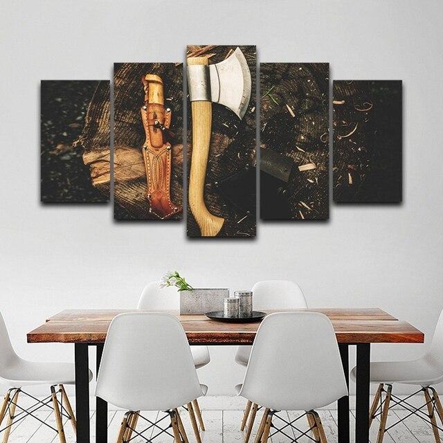Quadri Moderni Per Soggiorno.Us 9 46 Tela Quadro Di Arte Della Parete Quadri Moderni Soggiorno 5 Pezzi Ascia Strumenti Di Legno Moderna Decorazione Domestica Hd Manifesti