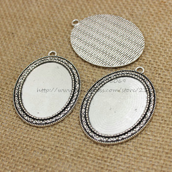 (10 pieces/lot) Antique Silver Metal Cameo 40*54mm(Fit 30*40mm dia) Oval Cabochon Pendant Setting Jewelry Blank Charms T0254
