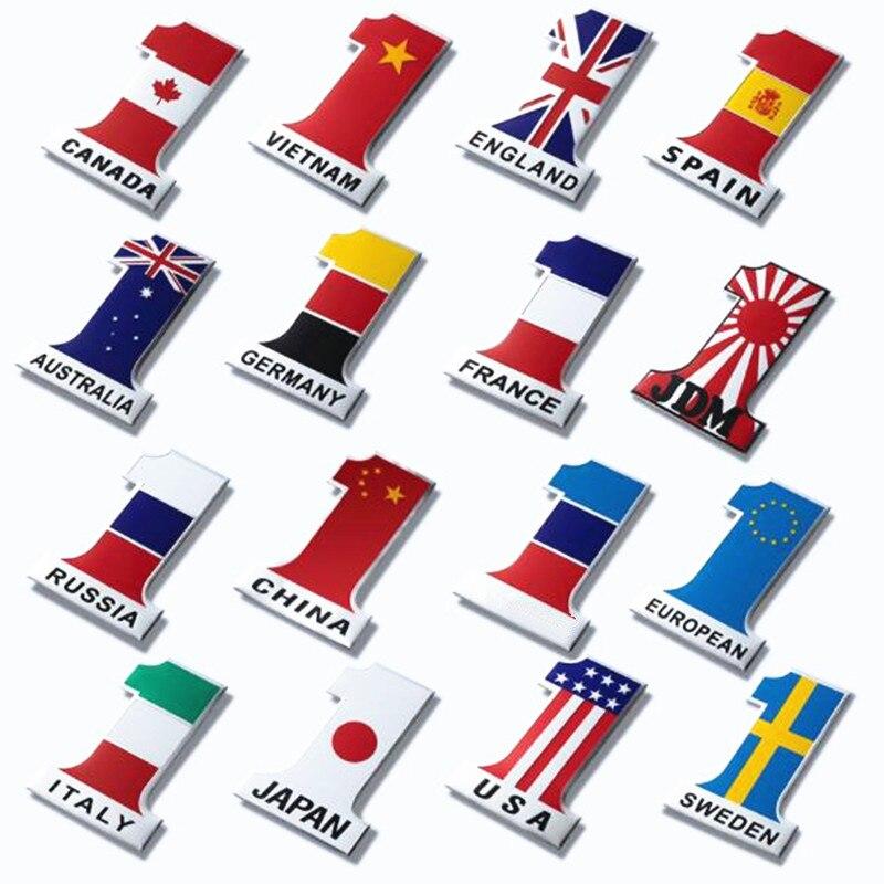European Flag Aluminum Sticker Premium Car Brand Emblem Badge Decal Auto 3D Logo