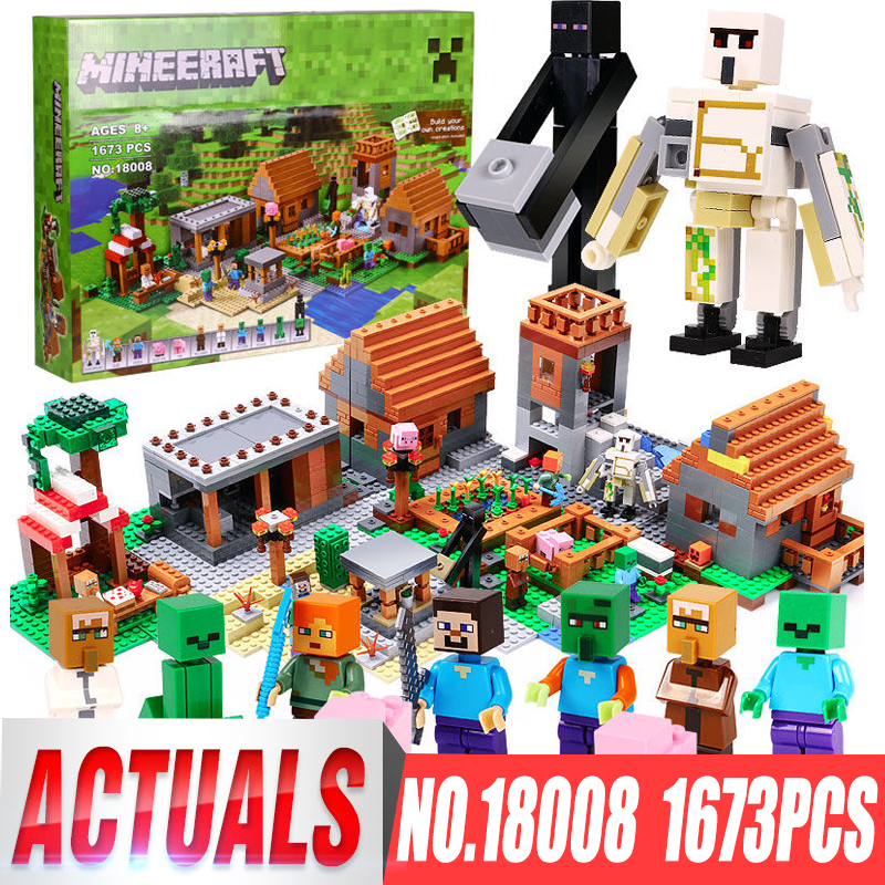 LEPIN 18008 1673pcs Minecrafted My World Series Village Model Building Blocks Bricks Compatible legoings 21128 Toys for Children new 18003 my world series the fortress model building blocks set compatible original 21125 my world toys for children