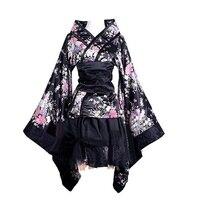 New Japanese Kimono Plus Size S XXXL Japanese Anime Flower Print Dress For Women