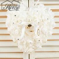1pc High Quality White 21 23cm NEW Elegant Rose Wedding Favors Heart Shaped Design Gift Ring