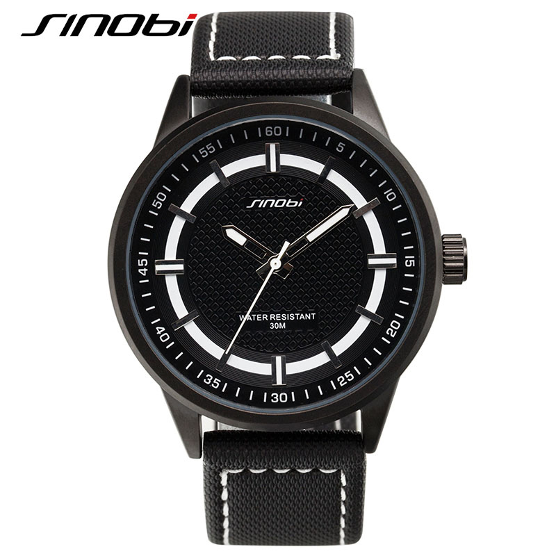 SINOBI 2016 Luxury Brand Military Watch Men Quartz Analog Clock Leather Canvas Strap Authentic Sports Army Relogios Masculino