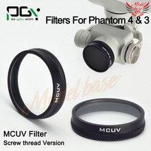 2016 NOVA PGY MCUV Lens Filtro para phantom4 DJI/phantom3-rosca versão Câmera Cardan Quadcopter drone peças acessórios