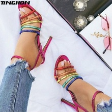 c8bcac4588a50f TINGHON Sexy Fashion high heels Sandals Buckle Open toed Party Womans shoes  Summer sparkly Shiny Rainbow