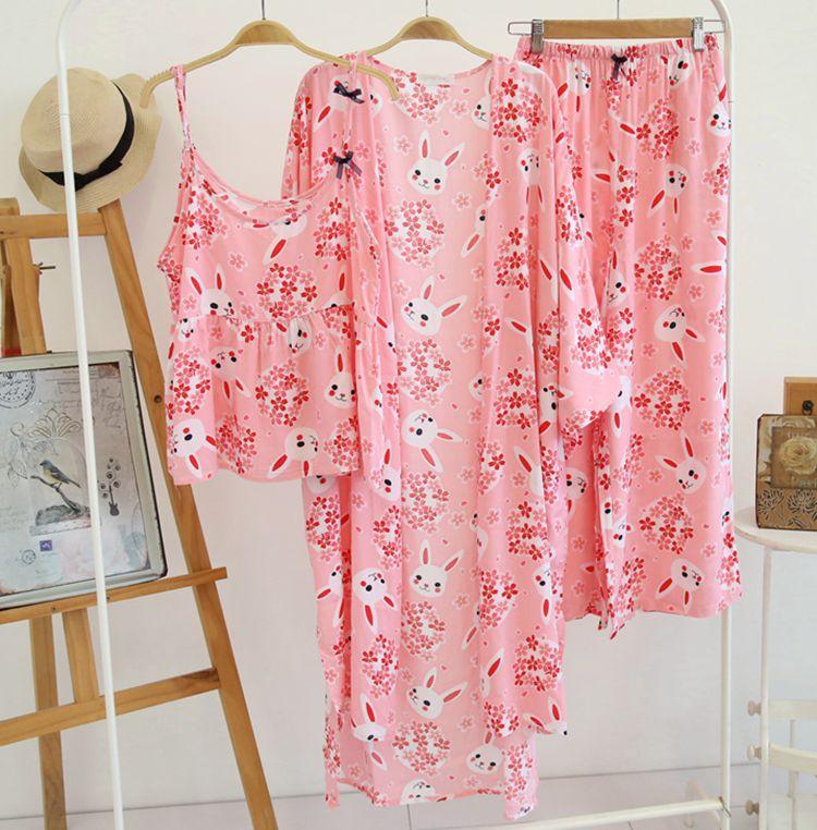 c15ba4b404981 Femmes dame coton pyjamas ensemble 3 pièces Robe/gilet/pantalon jambe large  coton confort Daisy fleur Robe printemps été dans Pyjama Ensembles de ...
