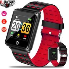 цена LIGE New Men Sport Smart Bracelet Women Fitness Tracker Pedometer Blood Pressure Heart Rate Monitor LED waterproof Smart Watch онлайн в 2017 году