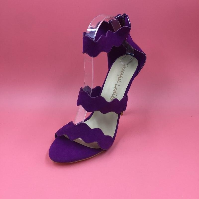 Style Femmes Bout Bretelles Sandale Ouvert Chaussures Hauts Image Cheville Talons Stilettos Gladiateur D'été Réelle À Sandales Violet Pourpre Escarpins 2H9WDEI