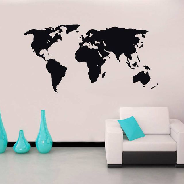 World Map Stencil Silhouette Wall Stickers For Living Room Art