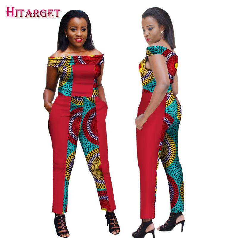 New African Wax Print Jumpsuit Women Clothing Bazin Riche African Slash Neck Patchwork Jumpsuit Dashiki African Clothes WY1714