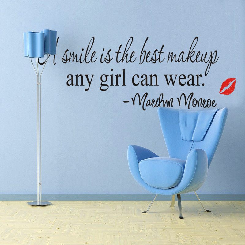 Free shipping Smile Makeup Marilyn Monroe Quote Vinyl Wall Stickers home decor decoration quote decals removable