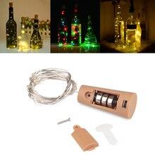 Теплый белый медный провод светодиодный Сказочный свет 1 м 2 м гирлянда декоративный свет для стеклянной Крафтовая бутылка украшения для дома на Рождество
