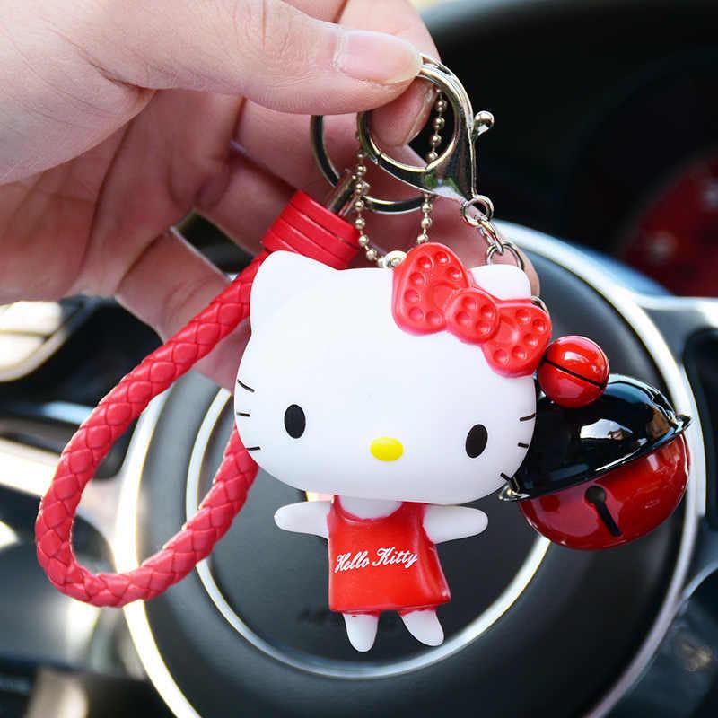 Anime Olá Kitty Chaveiro Bonecas Dos Desenhos Animados Cat KT Chaveiro Holer Corda de couro Porte Clef Saco Anel Chave Do Carro Chaveiro Presente para mulheres