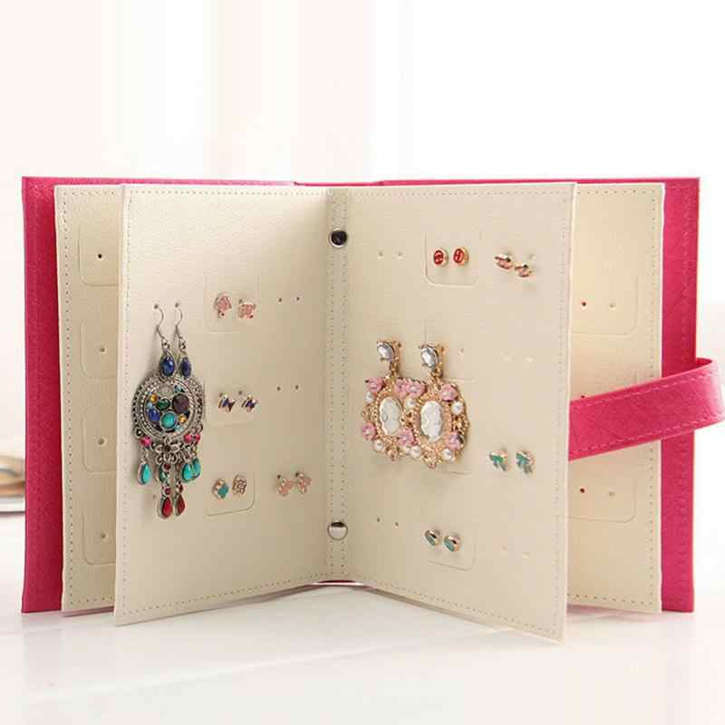 Jewelry Storage Book Stud Earrings Collection Pattern Portable Display Creative Organizer Box