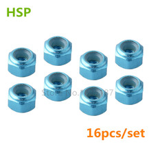 16pcs HSP 122048 Aluminum Nylon Nut M3 RC Upgrade Parts For 1:10 4WD On Road Car XRST Power RC Model Car