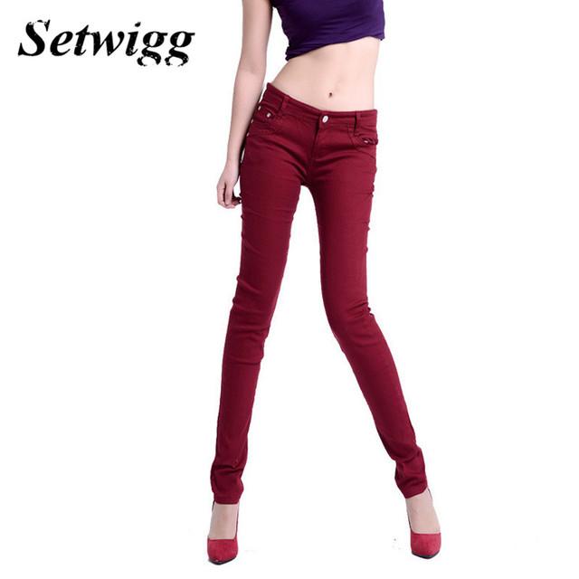 A forma Das Mulheres Doces Coloridos Lápis Calças Stretch Algodão Spandex Bodycon Calças Compridas Femininas Calças Skinny 20 Cores