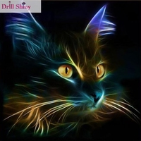Diy Square Drill Diamond Painting Cross Stitch Mosaics Full 100 Cover Embroidery Animal Light Black Cat