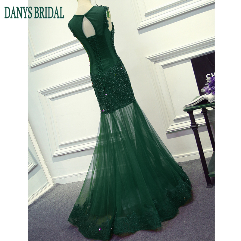 Smaragdno zelena duga čipka sirena prom haljina za djevojke ženska - Haljina za posebne prigode - Foto 3