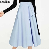 2017 New Clothes Single Female Models In Spring Days In A Blue Cotton Poplin Waist Skirt