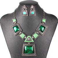 MS17188 Fashion Brand Jewelry Sets Antique Silver Plated Geometric Design Woman S Necklace Set High Quality