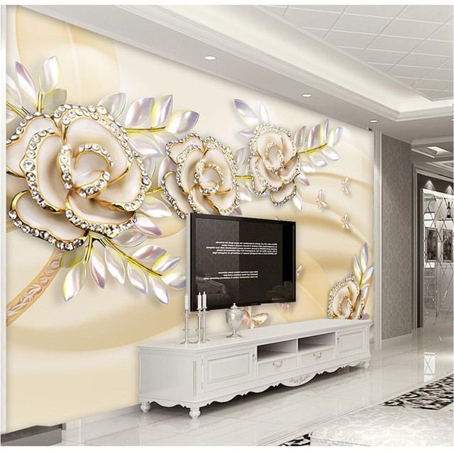 Custom Any Size Photo Background Wallpapers Silk Gold Rose Art Wall