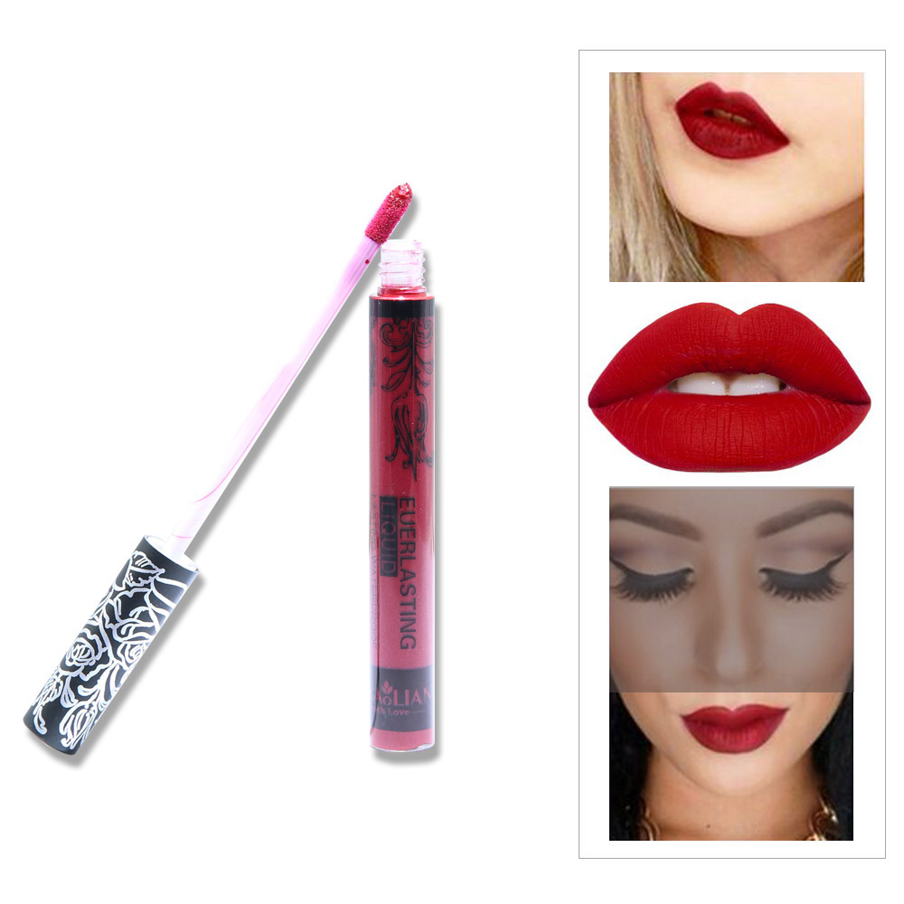 12 Colors Hot Sexy ruby rose clear lip gloss Matt Liquid Lipstick waterproof Long lasting Lip tint cosmetics best makeup Kit in Lip Gloss from Beauty Health