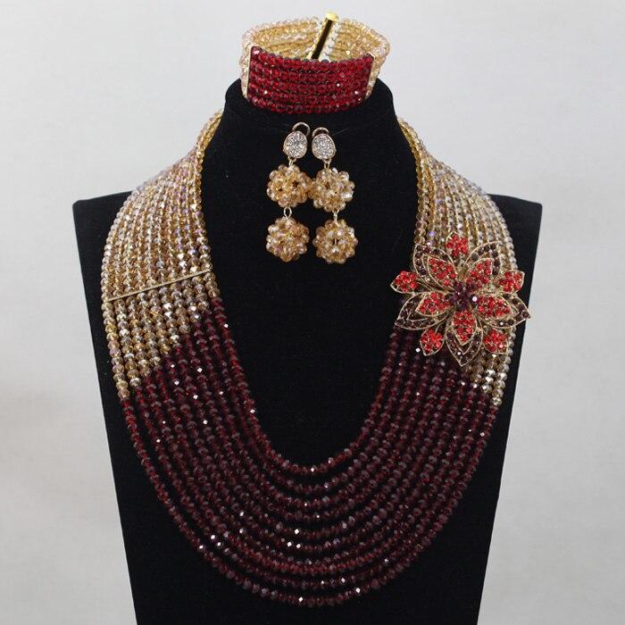 Derniers nouveaux invités de mariage vin et or perles africaines ensembles de bijoux Engagement Dubai or collier ensemble chaud livraison gratuite WD859
