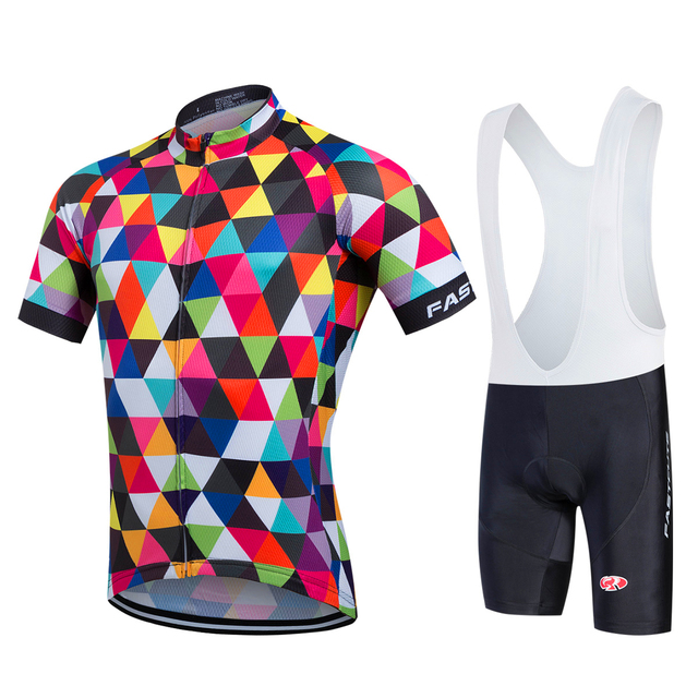 FASTCUTE Cycling Jersey Multicolor Bicycle Bike Short Sleeve Sportswear Cycling  Clothing maillot Cycling Jerseys set 8baa7eacc