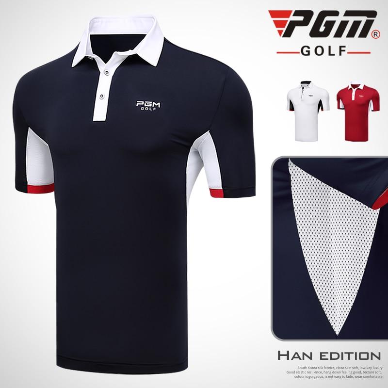 PGM new men's Golf Sportswear short-sleeved Button collar T-shirt summer sports Breathable elastic quick-drying golf polo shirt button up mandarin collar asymmetrical paisley shirt
