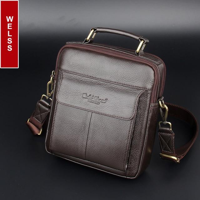 2016 hot sale men's messenger bags 100% natural genuine leather handbags Famous brand men fashion casual shoulder bags