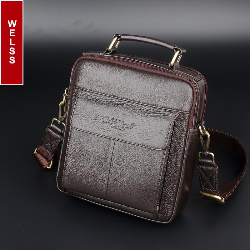 2016 vendita calda borse a tracolla da uomo 100% naturali borse in vera pelle Famosa marca di modo degli uomini sacchetti di spalla casuali