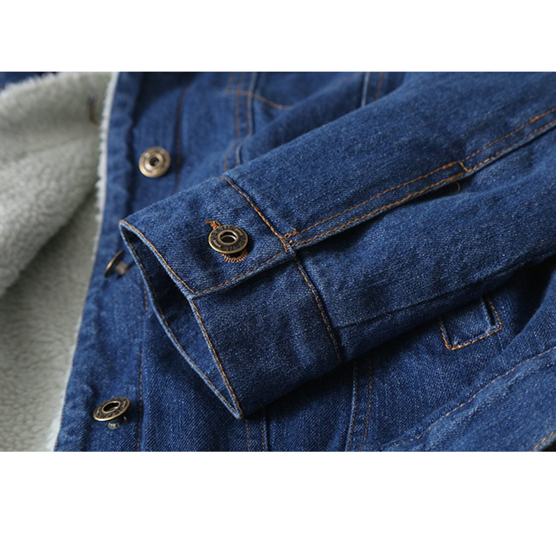 2019 Health ポケット長袖暖かいジーンズコート生き抜くワイドデニムジャケット 女性ラムズウールコート