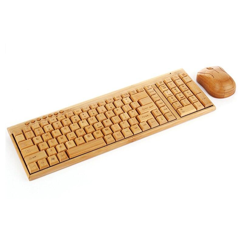 Souris clavier sans fil PC en bambou fait main-Eco