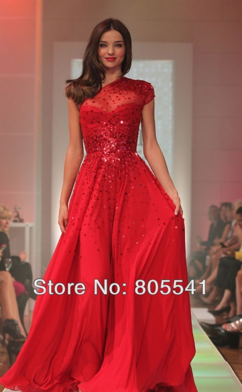 Miranda Kerr Gorgeous Red Floor Length Red Carpet Formal Gown A-line One Shoulder Sheer Beaded Backless Red Celebrity Dress (2)