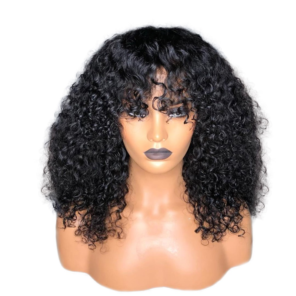 Wig With Bangs Human Hair Lace Front Wigs Remy Curly Human Hair Bob Wigs For Women