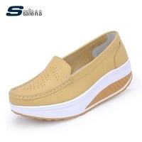 Women Leather Shoes Female Wholesale Women Flats Girl Comfort Low Heels Flat Loafers Nurse Shoes A658
