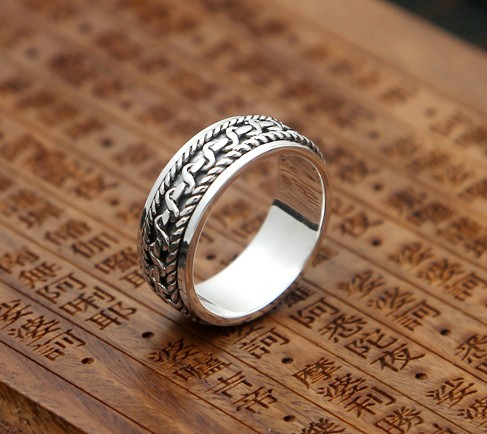 Rich s925 silver male twisted rope rotating ring thai silver finger ring transhipped silver jewelry