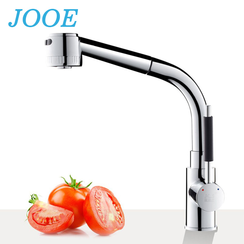 JOOE Free mixer kitchen faucet brass chrome deck mounted single handle hot and cold water tap pull out torneira de cozinha yanjun us kitchen faucet chrome pull down single handle basin sink deck mounted swivel mixer cold and hot water tap yj 6652