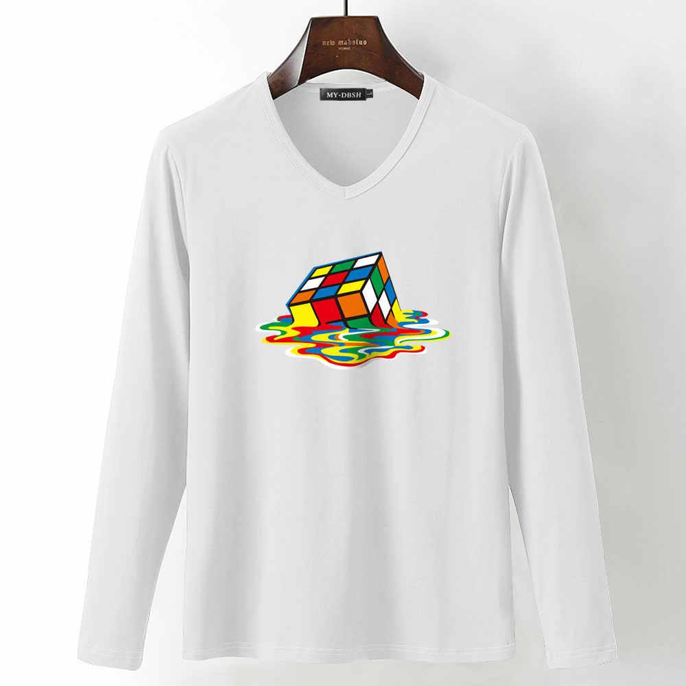 2019 Новое поступление бренд mydbsh 3D Печатный дизайн футболка женская элегантная Кубик Рубика нижние футболки Мужская хлопковая футболка с длинным рукавом