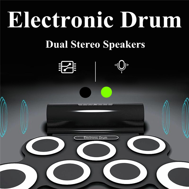 Eletronic Drum 7 Drum Pads Portable Roll Up Electronic Drum Pad Kit with Speaker Kids Gift Drums&Speaker All in One 6pcs set 39x 27 5x2 5cm silica gel foldable portable roller up usb electronic drum kit 2 drum sticks 2 foot pedals